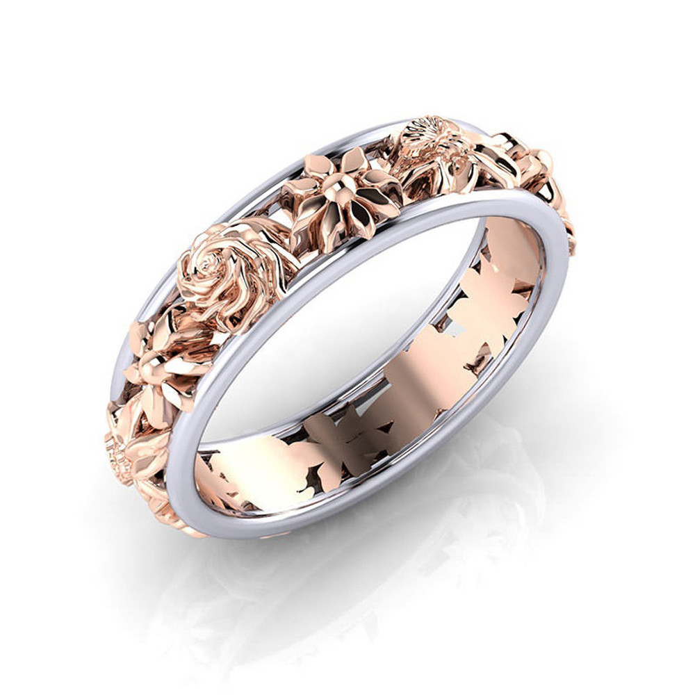 Rose Gold Color Hollow Flower Wedding Rings For Women