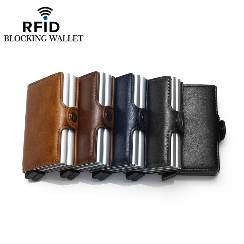 Fashion Card holder Double Metal Box Credit Card Holder RFID Blocking Mini Wallet Aluminium Leather Business Card case in Card ID Holders from Luggage Bags