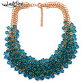 New Women Statement Luxury Vintage Crystal Colorful Gem Necklace &Pendants Good Quality Hotsale Collar Necklace Jewelry B333