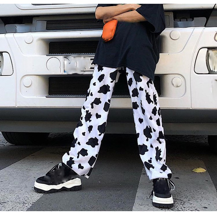 2019 Elastic High Waist Milk Cow Print   Pants   Women Straight Loose Trousers Streetwear Casual   Wide     Leg     Pants   Femme
