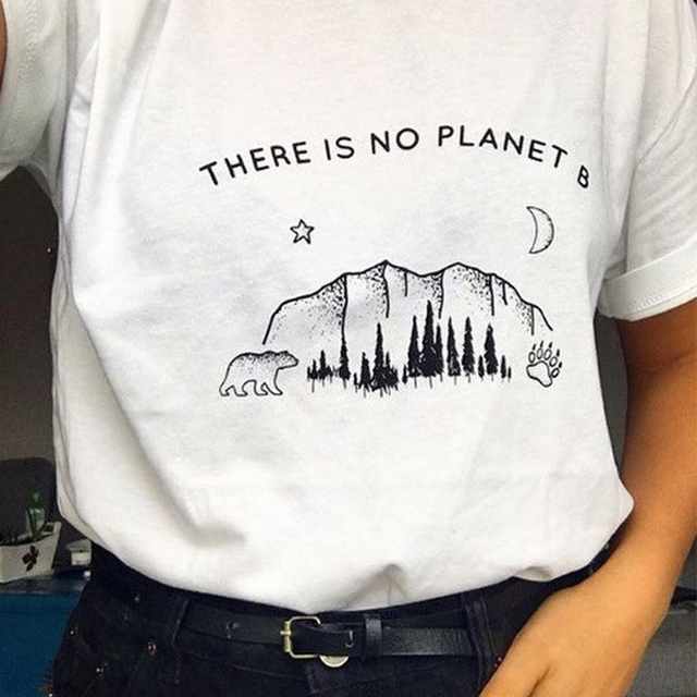Star moon Planet Graphic Top There is no Planet B T-Shirt Funny Planet Slogan Christian Stylish Tee Feminist Vintage shirts 3