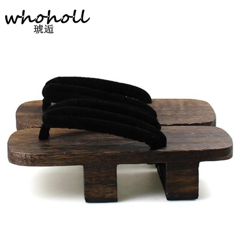 WHOHOLL women Flip Flops summer sandals platform Japanese wooden geta bidentate paulownia clogs Cosplay costumes shoes WMGT 255 in Low Heels from Shoes