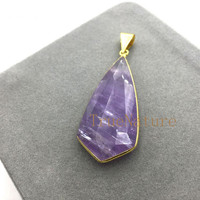 Discounts Jewelry Fashion Faceted Amethysts Pendant Purple Crystal Teardrop Charms For Jewelry Making In 56*25 mm PM5080