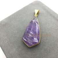 Rabaty Biżuteria Moda Wisiorek Fioletowy Kryształ Teardrop Faceted Amethysts PM5080 Charms Dla Tworzenia Biżuterii W 56*25mm