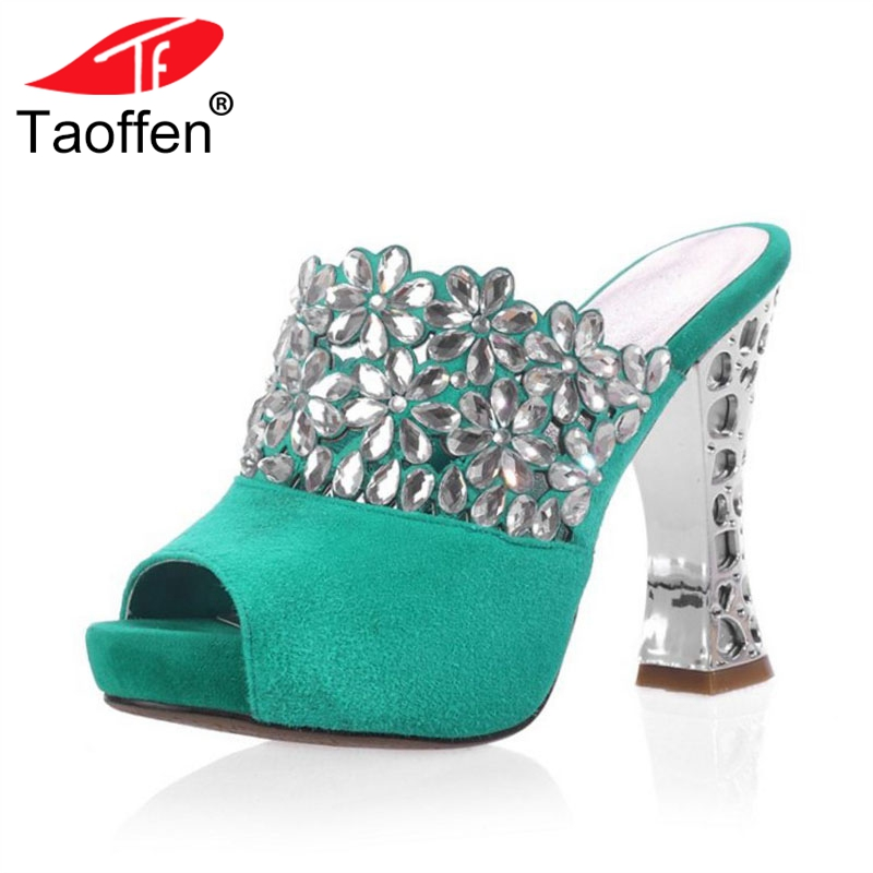 TAOFFEN Women High Heel Sandals Real Leather Peep-Toe Platform Bling Women Sandals Sexy Ornate Shoes Club Footwear Size 34-39 taoffen women high heels sandals real leather peep toe shoes women buckle clear thick heel sandals daily footwear size 34 39
