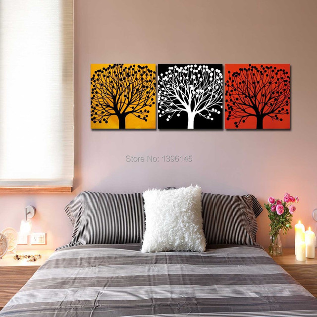 red home office. Frameless Painting Modern Three Colors Tree Yellow Black Red Mural Oil Paintings Home Office Wall Art