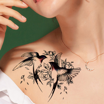 Big Flower arm tattoo Temporary Tattoo Sticker Sparrow/Magpie Fake Tatoo Sleeve Flash Tatto Waterproof Body Art Women sexy girls 3