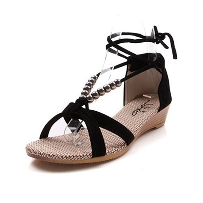 new arrival 2015 women sandals low heel wedges summer casual single shoes woman sandal fashion soft slippers free shipping 2016 fashion women summer sandals slippers flat heel sandals beaded lacing gladiator small wedges shoes casual shoes