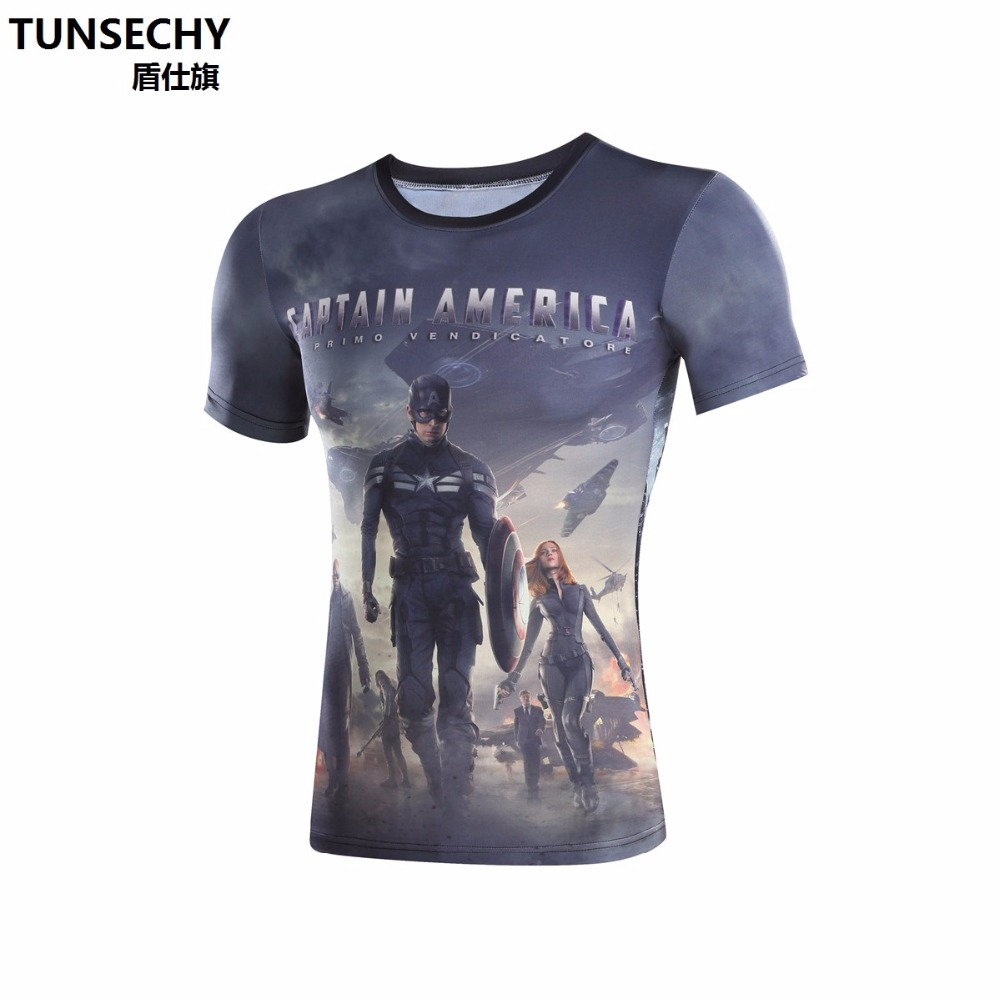 Superman spor kaslı erkek gömlek, kaptan Amerika civil war 3 T-shirt, fitness ekipmanları spor kahraman Chris Evans