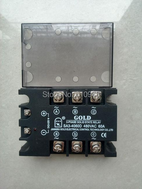 SA34060D 60A triphasé DC à AC relais à semi-conducteurs SSR, tension d'entrée 4-32VDC, tension de sortie 40-530VAC, 60A