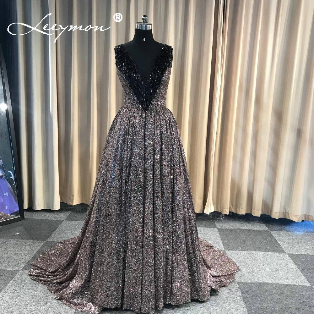 Robe De Soiree Glitter Shiny   Evening     Dress   V Neck Sleeveless   Evening   Party Long Formal Pleated   Evening     Dress   Tassel Beading