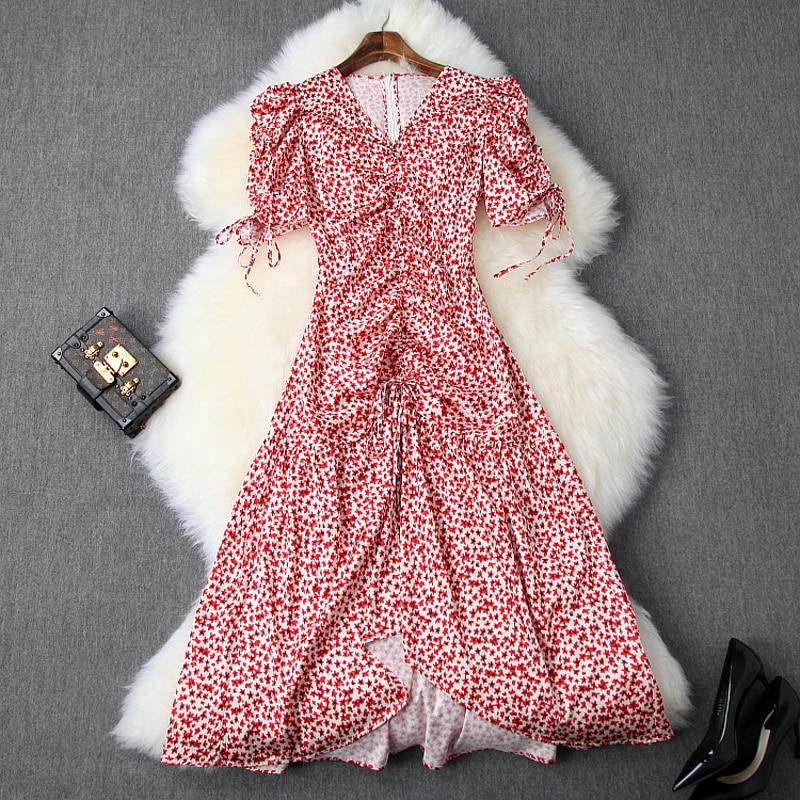 Sweet Asymmetrical Puff Sleeve dresses xl 2019 NEW summer elegant woman empire Chiffon girl dress sexy