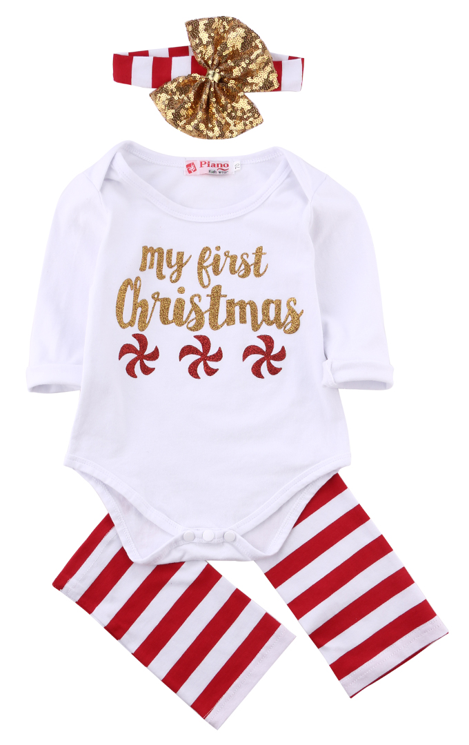 Christmas baby clothes set Newborn Kids Baby boys Girls first christmas Romper Jumpsuit Headband Outfits Sunsuit Clothes