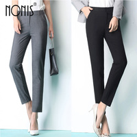 Nonis Black Grey Business Suit Trousers Women S 2017 New OL Work Trousers Plus Size Femme