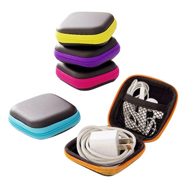 Fio do fone de ouvido Organizador de Cabos de Linha de Dados Caixa de Armazenamento Caso Box Container Coin Fone de Ouvido De Proteção Caso Box Container