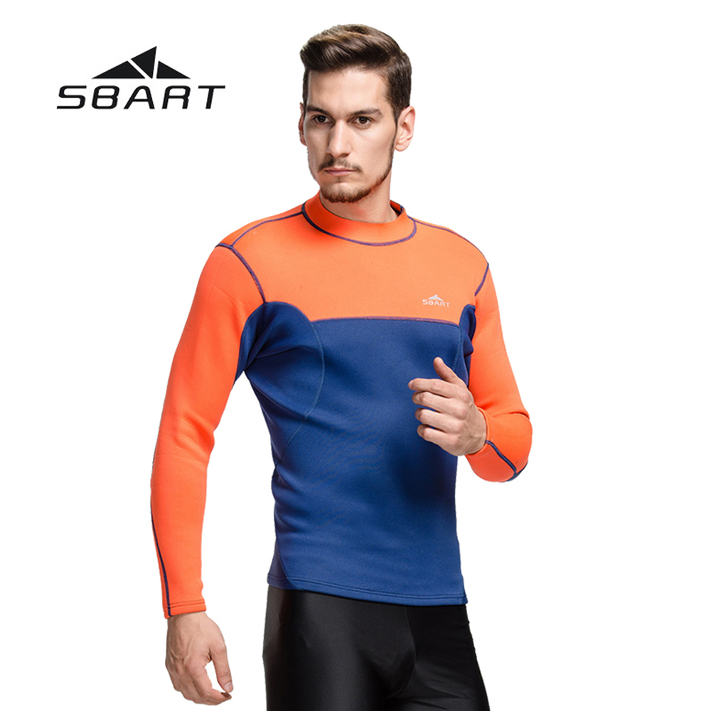 ФОТО SBART 2mm Neoprene Men Scuba Diving Wetsuit Long Sleeve Tops & T-Shirt Kite Surfing Snorkeling Rash Guard Windsurfing Swimwear