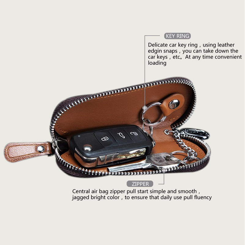 CONTACT'S Men Genuine Cow Leather Bag Car Key Wallets Fashion Women Housekeeper Holders Carteira Keychain Zipper Key Case Pouch 1