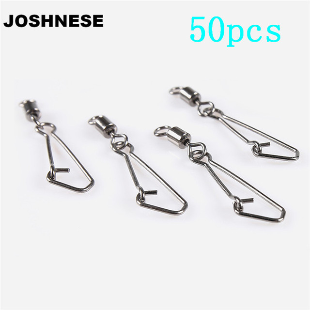 50pcs Rolling Swivel Fishing With Nice Snap Fishing Swivels Stainless Steel Rolling Fishing Hook Connector Fishing Accessories