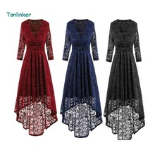 Tonlinker Women 2018 Spring Elegant Sweet Lace Dress High-End Ladies v-Neck  Vintage Female Slim Sexy Party Dresses Vestidos 2xL