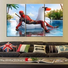 Wall Decorative Artwork 3 Piece Top-Rated Canvas Printing Deadpool 2 Funny Large Painting Framework Or Frameless Movie Poster