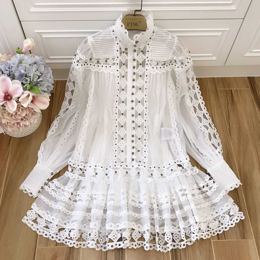 Red RoosaRosee New Spring Summer Designer Dress Women s Lantern Sleeve Embroidery Rivet Boutique White Dress