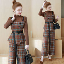 YICIYA elegant office OL outfit tracksuit co-ord set for women 2 piece sets pants suits and top 2019 slim plaid striped clothing