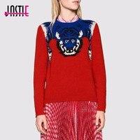 Jastie Tiger Knit Jumper A Coste O-collo maglia a Manica Lunga Maglione Pullover Top Chic di Cristallo del Branello Pugnale Nuovo Lavoro A Maglia Maglioni