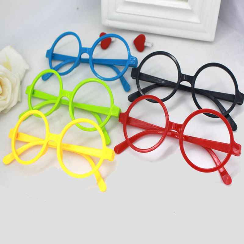 Retro Nerd Style śliczne dziecko okrągłe okulary ramka bez soczewek cukierki kolor plastikowa matka córka na imprezę cosplay kostium okulary