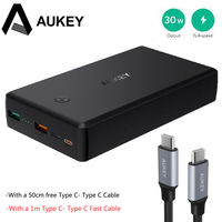 AUKEY Quick Charge Power Bank 30000mAh QC3 0 Fast Charger Batteries Dual USB Powerbank Charger Fast