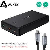 AUKEY Quick Charge Мощность Bank 30000 мАч QC3.0 быстро Зарядное устройство батареи Dual USB Мощность банк Зарядное устройство + Быстрая кабель для iPhone 8 X