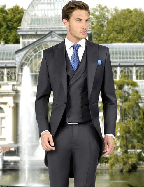 2018 The Latest Designs Men Suit Gray Custom Made Suits Long Tail For Wedding Tuxedo Slim