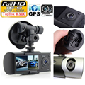 "Dual Camera Car DVR R300 with GPS and 3D G-Sensor 2.7"" TFT LCD X3000 FHD 1080P Cam Video Camcorder Cycle Recording Digital Zoom"