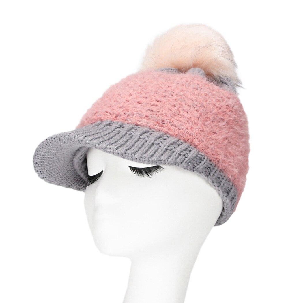 Women Kawaii Baseball Caps Pom Cute Knitted Winter Hats For Female ... 2c3c62c7ee2c