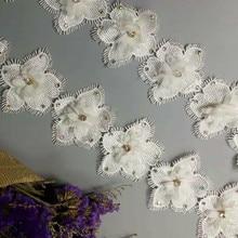 1 yard Vintage White Polyester Diamond Flower Embroidered Lace Trim Ribbon Fabric Handmade Garment Wedding Dress Sewing Craft