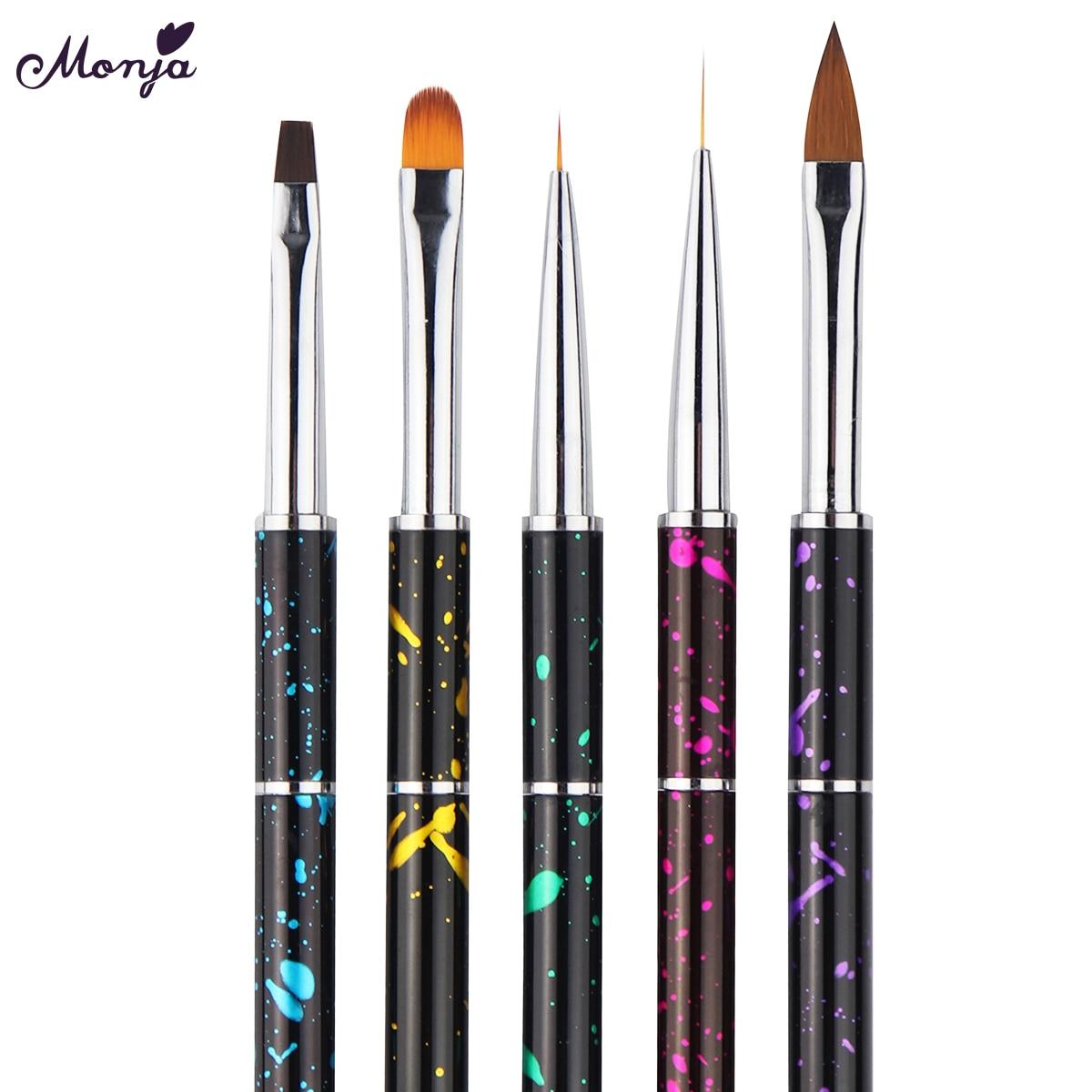 Monja Nail Art Detachable French Stripe Lines Painting Liner Acrylic UV Gel Extension Builder Liquid Powder Carving Brush Pen