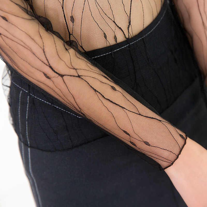 נשים סקסיות לראות דרך שקוף רשת חולצות ארוך שרוול Sheer Slim גבירותיי גולף חולצות בגדי ds051