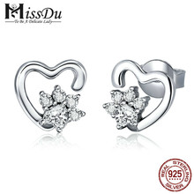 Fashion 925 Sterling Silver Classic Heart Clear Cubic Zircon Stud Earrings for Women Sterling Silver Jewelry 2018 SCE415 bamoer 925 sterling silver love heart shape stud earrings for women clear cubic zirconia fashion anniversary jewelry pas405