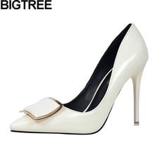BIGTREE женщины белый обнаженная красный свадебные туфли женщина насосы тонкий высокий каблук stiletto весна осень высокое качество металла украшения обувь