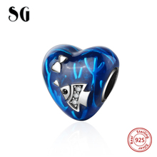 цена Fit authentic pandora charms Bracelet silver 925 heart shape pendant beads with blue enamel diy jewelry making for women Gifts