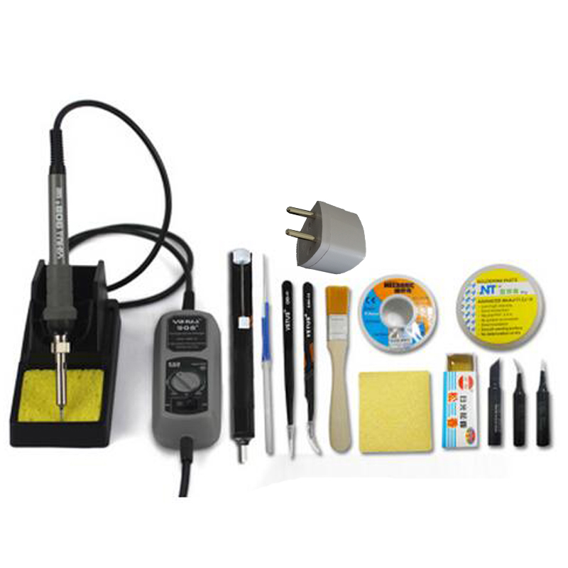 220V 60W Electric Solder Soldering Iron Adjustable Temperature Welding Soldering Station With Desoldering Pump Iron Tips adjustable temperature soldering iron 60w switch welding station tool kit with soldering tips