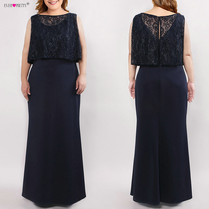 Plus Size Mother Of The Bride Dresses Elegant Straight Sleeveless Illusion Lace Long Formal Party Gown Ever Pretty Vestido Novia