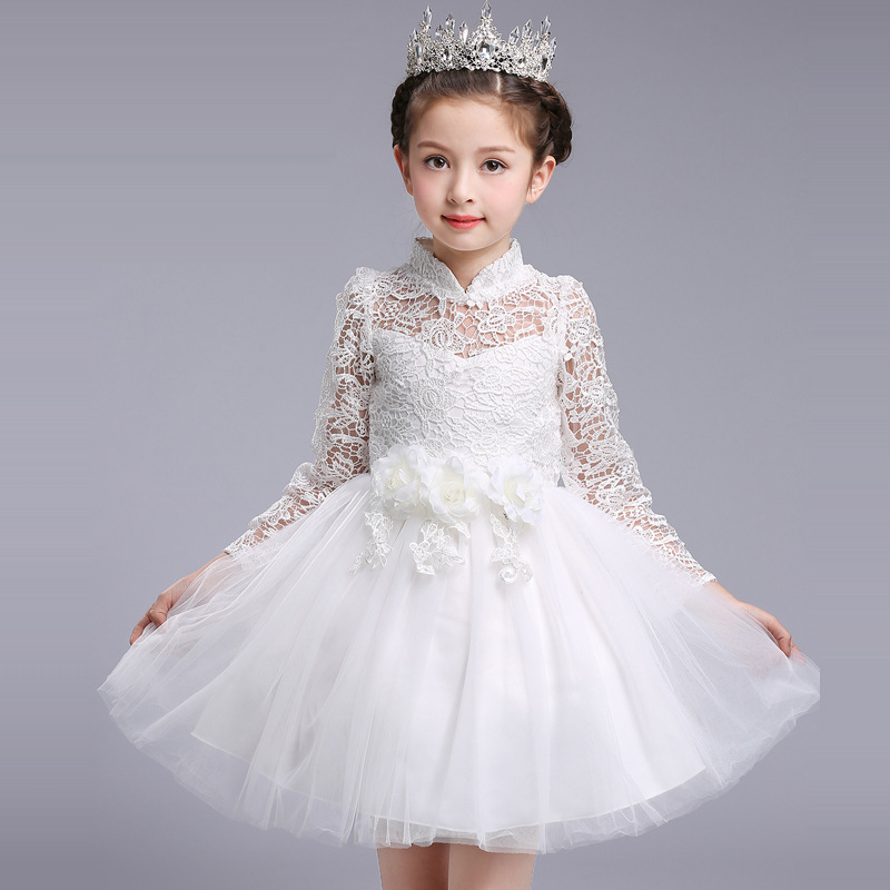 ФОТО 2017 spring Korean costume dress children's clothing long sleeves  show dress Puff  princess dress kids dress