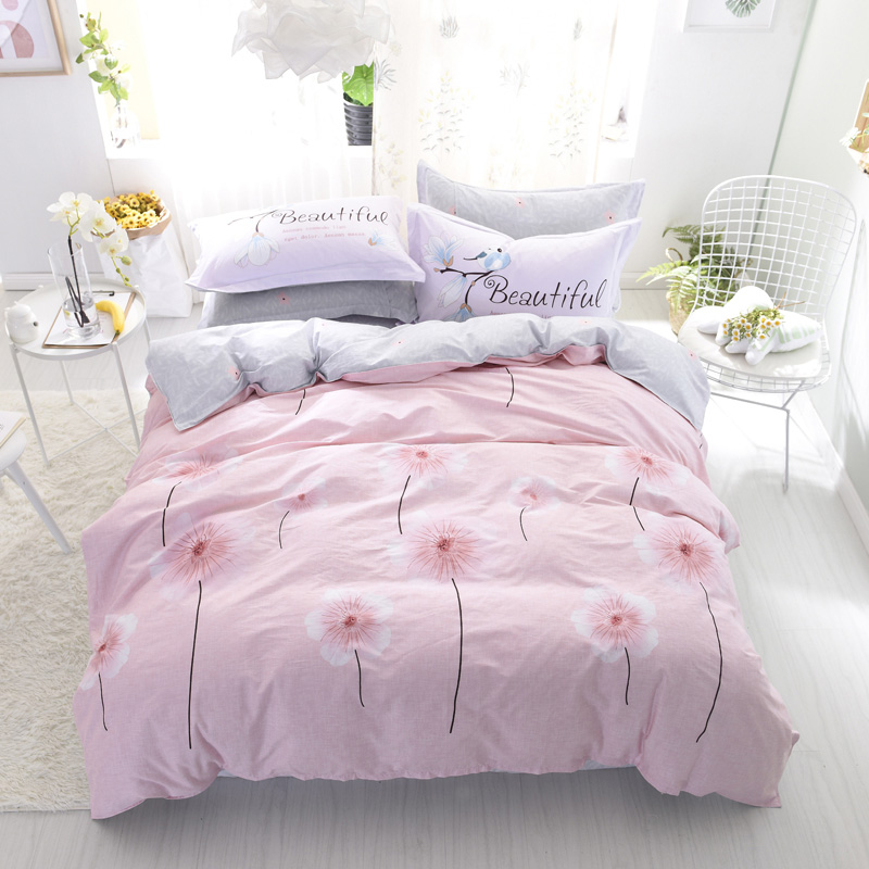 ARNIGU floral printed Cotton fabric bedding sets pink Duvet/Quilt cover+Flat Bedsheet+Pillowcase single twin queen double size