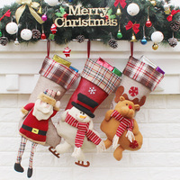 Santa Claus Plush Doll Christmas Stockings Xmas Tree Hanging Ornament Christmas Decorations Kids Candy Gift Bag