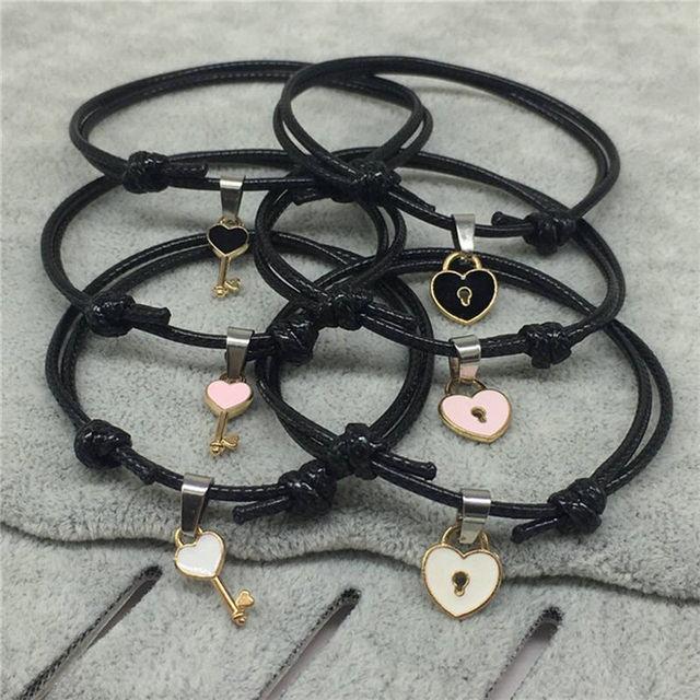 Couple's Black Bracelets with Zinc Alloy Pendants