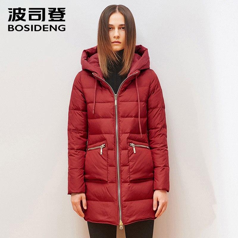 BOSIDENG women's clothing winter   down     coat     down   jacket hoodie female outwear big pocket high quality big size B1501210