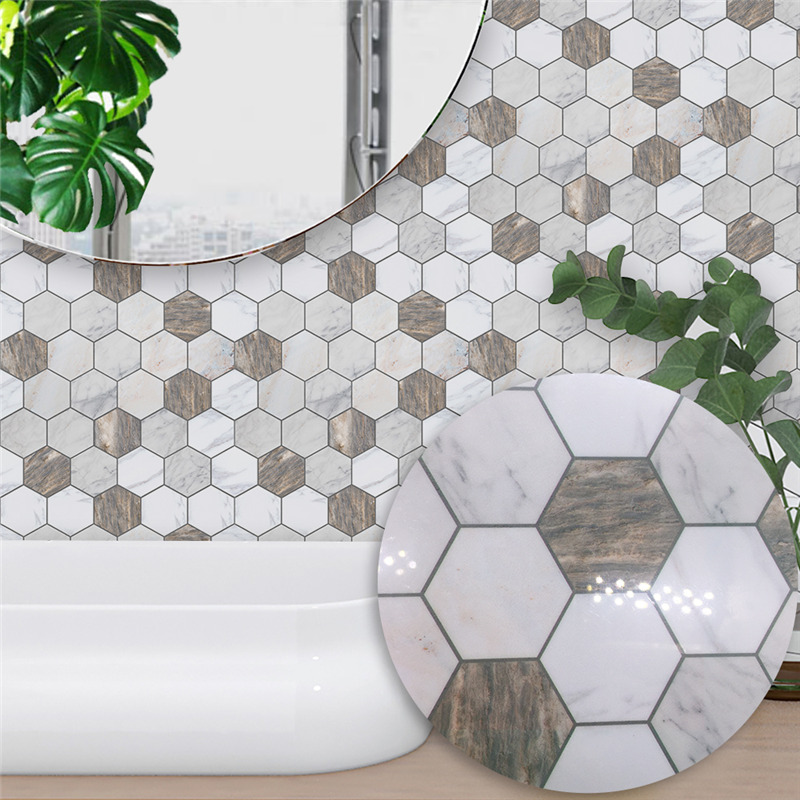 Brown White Marble Mosaic Tile Wall Sticker Self Adhesive Waterproof  PVC Wallpaper for Kitchen Bathroom Home Decor Removable