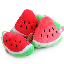 New Pet Cat & Dog Toy Plush Sound Cute Watermelon Two Kinds Of Shapes Free Shipping