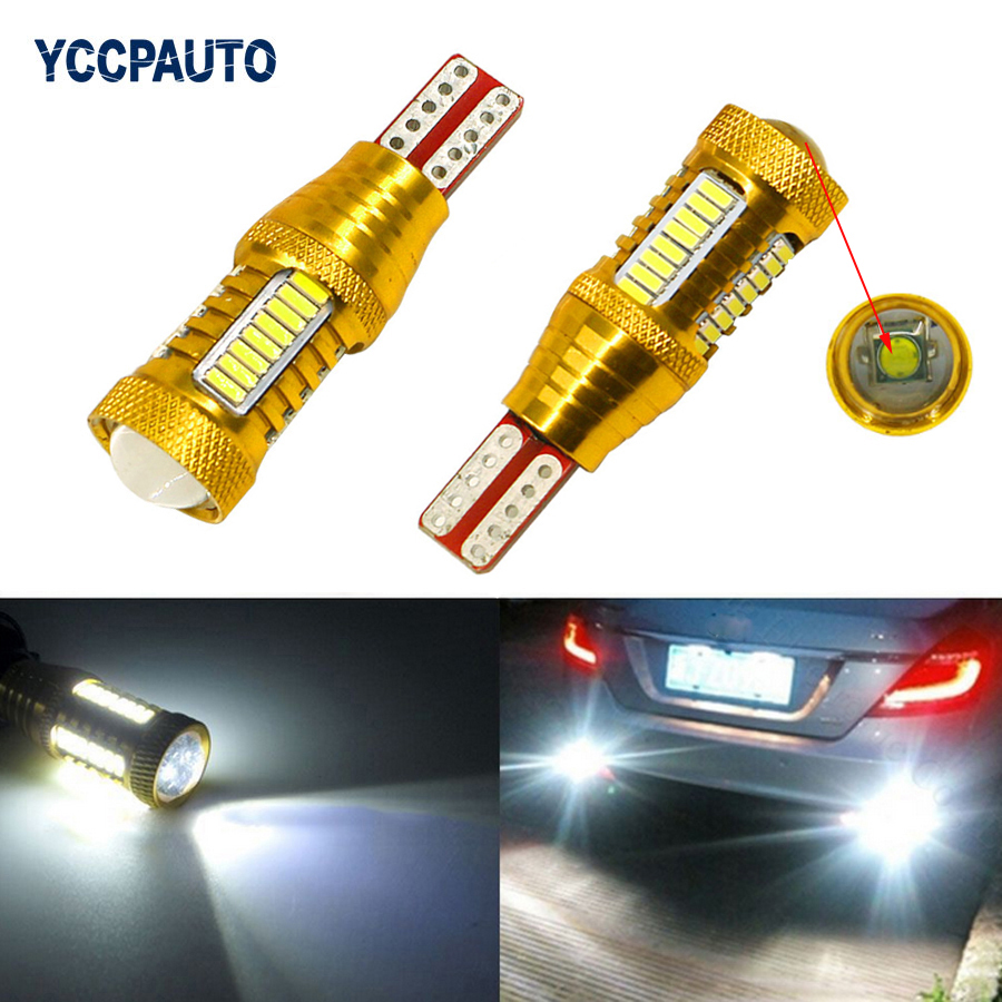 T15 CREE Led Chip Car Backup Light W16W LED Reverse Lamp Tail Bulbs 4014 32 SMD Accessories Xenon White 12V Car Light Source 2PC hottest 20w canbus high power white cree chip t15 w16w912 921 led replacement reflector bulbs for car backup reverse light
