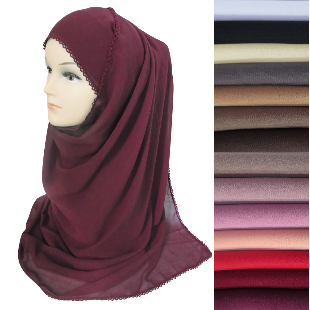 10pcs/lot Crochet Lace Muslim Women Bubble Chiffon Hijab Scarf Shawl Wrap Head Wear Solid Colors 180cm X 75cm